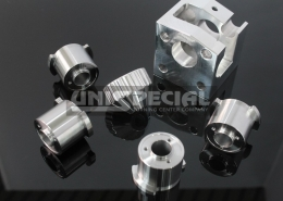 Precision parts machined to drawing from steel, alluminium ecc. by turning and milling for the food processing machinery sector made in Unispecial turning center company, Vigodarzere, Padua Italy